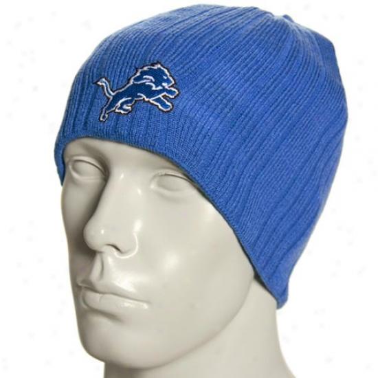 Detroit Lions Cap : Reebok Detroit Lions Light Blue Block Knit Reversible Beanie