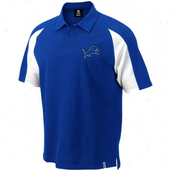 Detroit Lions Clothing: Reebok Detroit Lions Royal Blue Stealth Pique Polo