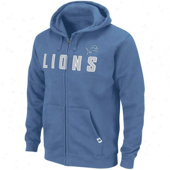 Detroit Lions Hoodies : Detroit Lions Light Blue Classic Heavwyeight Full Zip Hoodies
