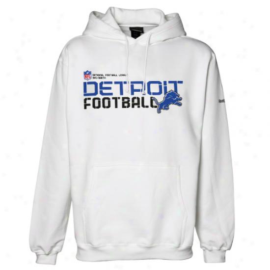 Detroit Lions Hoodies : Reebok Detroit Lions White Sideline Tacob Hoodies Pullover Hoodies