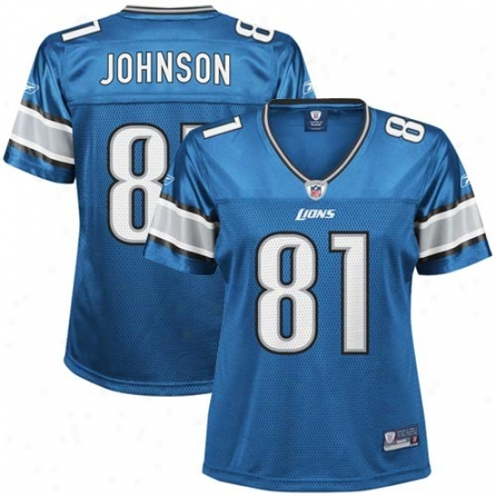 Detroit Lions Jerseys : Reebok Nfl Equipment Detroit Lions #81 Calvin Johnson Ladies Light Blue Replica Football Jerseys