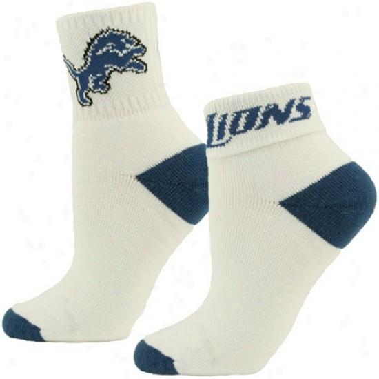 Detroit Lions Ladies White-light Azure Roll Socks