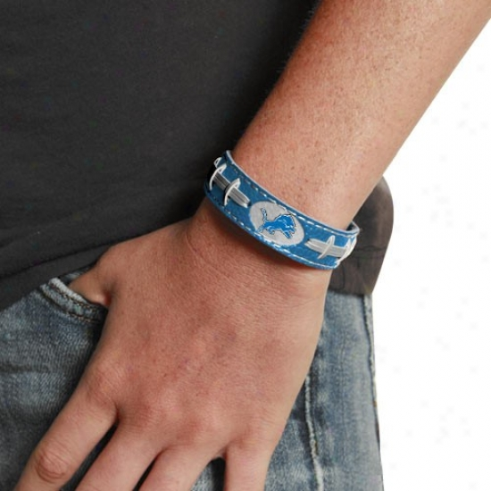 Detroit Lions Light Blue Leather Football Bracelet