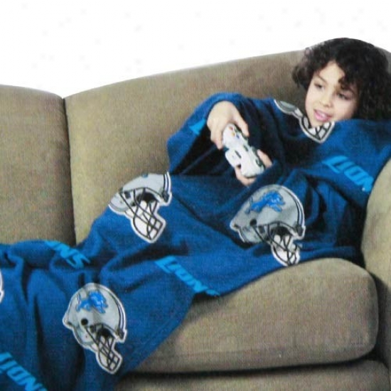 Detroit Lions Light Blue Team Helmet Print Boy Comfy Throw