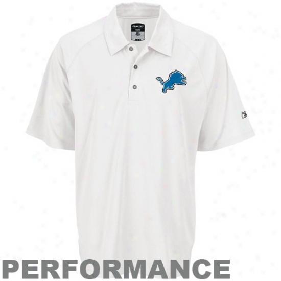 Detroit Lions Polo : Reebok Detroit Lions White Logo Play Dry Perrformance Polo