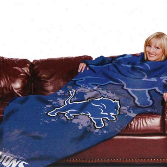 Detroit Lions Royal Blue Team Logo Print Unisex Comfy Throw