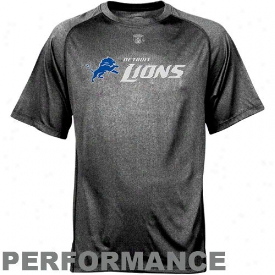 Detroit Lions Shirts : Reebok Nfl Equipment Detroit Lions Black Sideline Speedwick Performance Heathereed Shirts