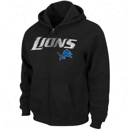 Detroit Lions Sweatshirts : Detroit Lions Black Touchback Iii Full Zip Sweatshirts