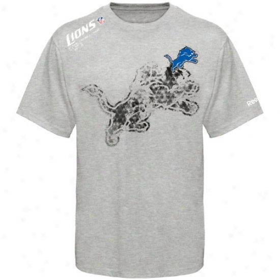 Detroit Lions Tees : Reebok Dtroit Lions Youth Ash Sidelien Stealth Tees