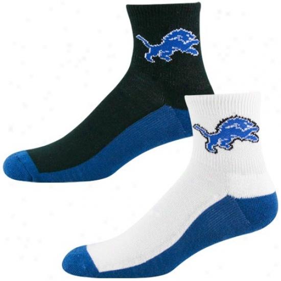 Detroit Lions Tri-color Two-pack Quarter Socks