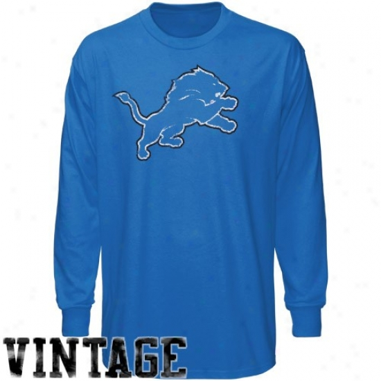 Detroit Lions Tshirts : Reebok Detroit Lions Youth Light Blue Faded Logo Long Seleve Vintage Tshirts