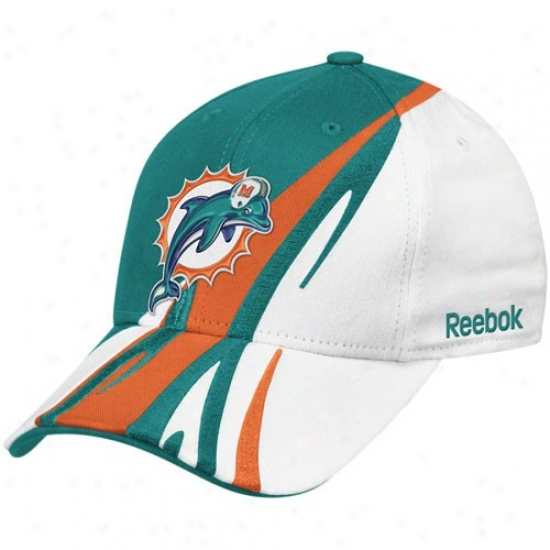Dolphins Caps : Reebok Dolphins White-aqua Cut & Sew Adjustable Caps