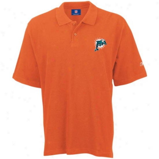 Dolphins Clothing: Reebok Dolphihs Orange Pique Polo