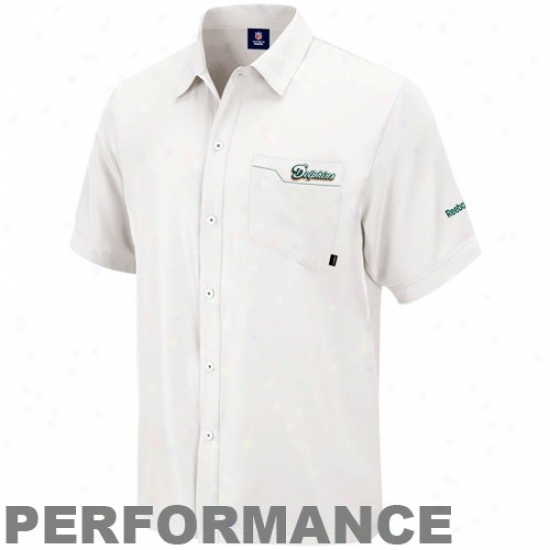 Dolphins Clothing: Reebok Dolphins White Sideline Full Button Performance Polo