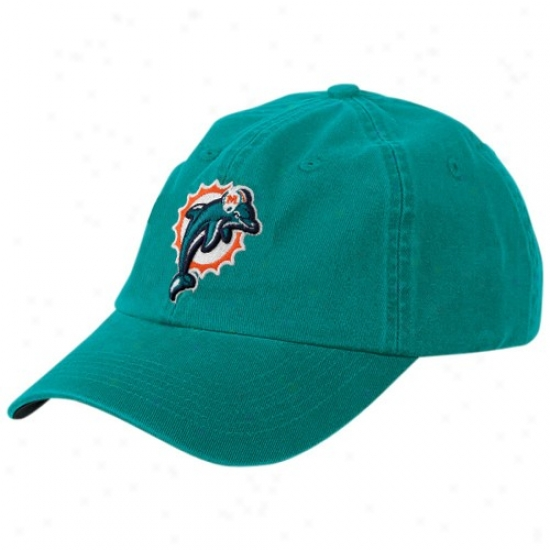 Dolphins Harness: Reebok Dolphins Youth Aqua Basic Logo Adjustable Slouch Hat