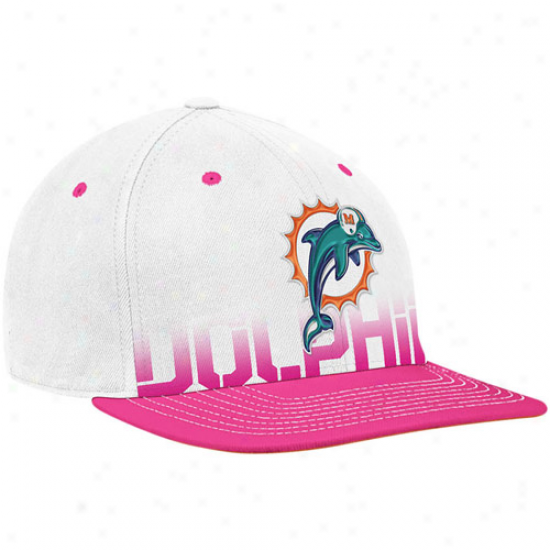 Dolphins Hatz : Reebok Dolphins White-pink Bosom Cancer Awareness Flat Brim Flex Hats