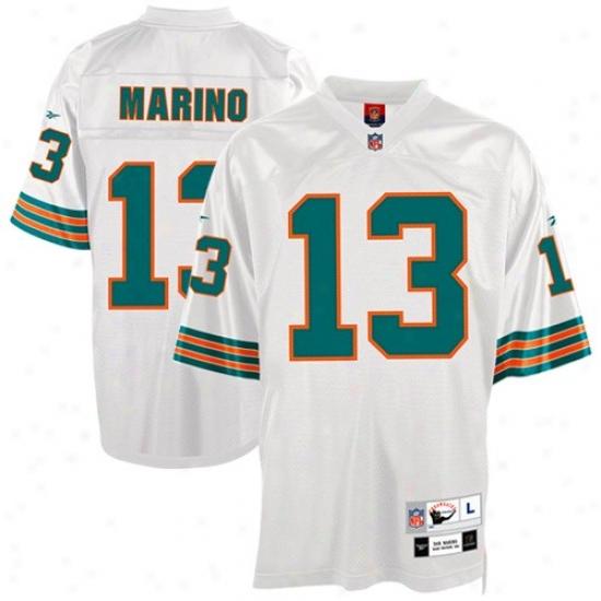Dolphins Jerseys : Reebok Dolphins #13 Dan Marino White Tackle Twill Throwback Footbal lJerseys