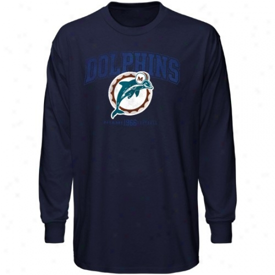 Dolphins Shirt : Dolphins Navy Blue Legacy Critical Victory Iv Long Sleeve Shirt