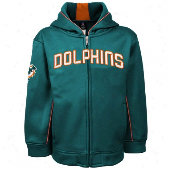 Dolphins Sweatshirt : Reebok Dolphins Preschool Aqua Warrior Full Zip Sweatshirt Jacket
