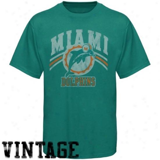 Dolphins T Shirt : Junk Food Dolphins Aqua Vintage Premium T Shirt