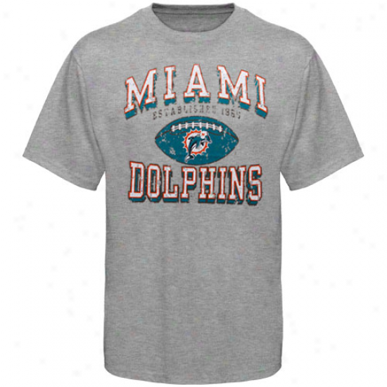 Dolphins Tees : Dolphins Ash Regular Season Tri-blend Tees