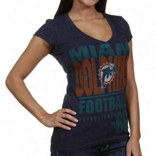 Dolphins Tshirt : Dolphins Ladies Navy Pedantic  Victory Play Ii Heathered V-neck Tshirt