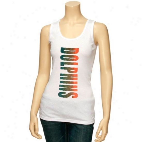 Dolphins Tshirts : Dolphins Ladies White Oversize Garphic Tank Top