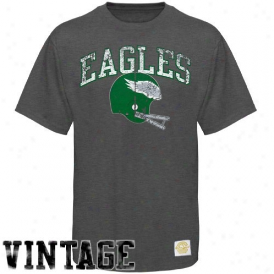 Eagles Apparel: Reebok Eagles Charcoal Buttonhook Vintage Premium T-shirt