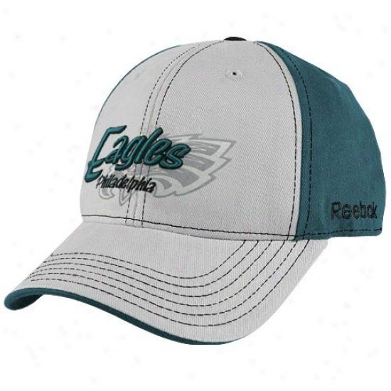 Eagles Hats : Reebok Eagles Gray-green Tonal Flourish Adjustabble Hats