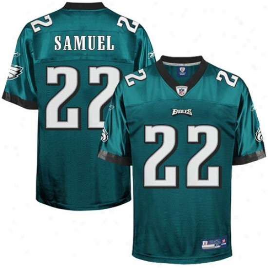 Eagles Jersey : Reebok Nfl Equipment Eagles #22 Asante Samuel Green Autograph copy Football Jersey