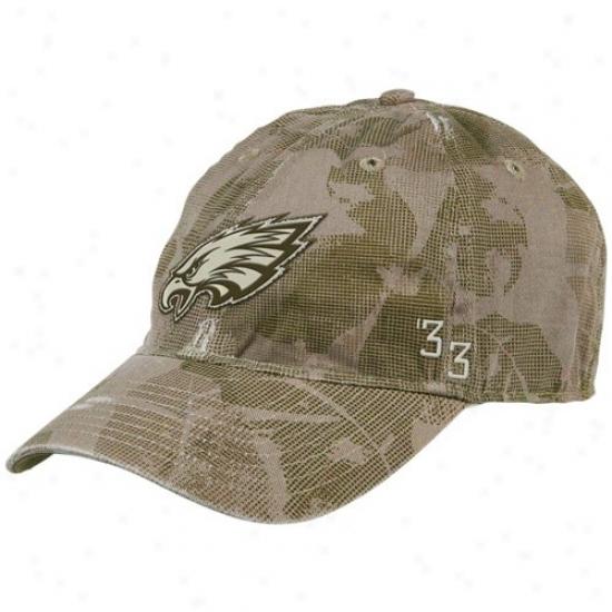 Eagles Merchandise: Reebok Eagles Natural Camo Concrete Flex Fit Slouch Hat