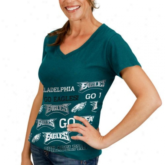 Eaglds Shirt : Eagles Ladies Midnight Green Bling Diva Premium V-neck Shirt