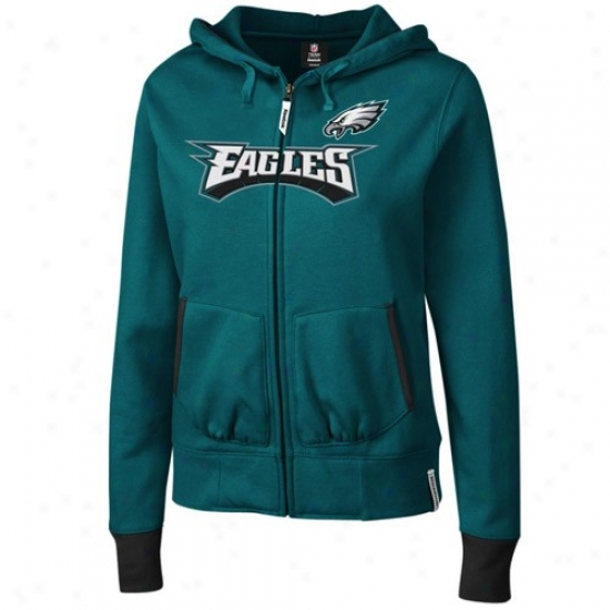 Eagles Sweatshirt : Reebok Eagles Ladies Gredn Chant Full Zip Sweafshirt
