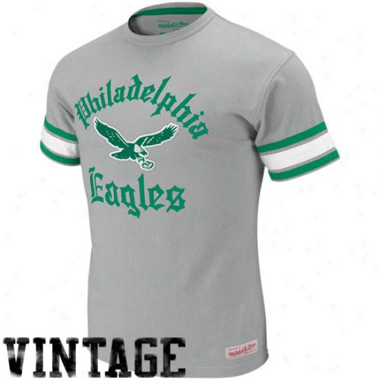 Eagles Tee : Mitchell & Ness Eagles Gray Touchdown Vintaeg Premium Tee