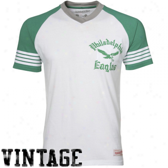 Eagles Tees : Mitchell & Ness Eagles White 1960 Vintage V-neck Raglan Premium Tees