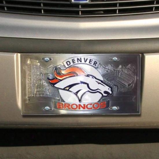 Enterprises Denver Broncos Heavy-duty Color Pewter License Plate