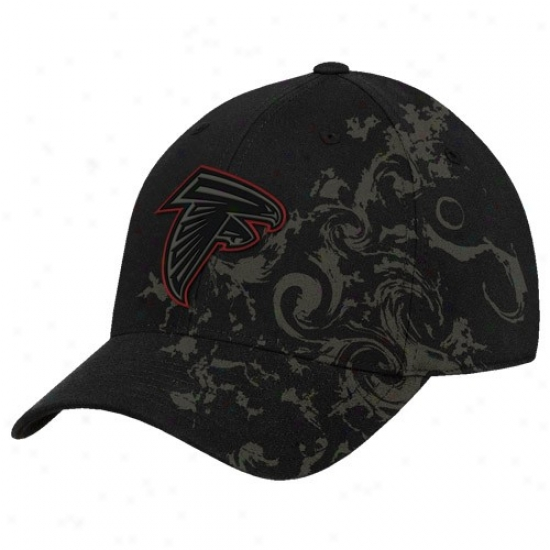 Falcons Gear: Reebok Falcons Black Tattoo Swirl Structured Flex Fit Hat
