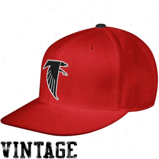 Falcons Hat : Mitchell & Ness Falcons Red Throwback Structured Fitted Hat