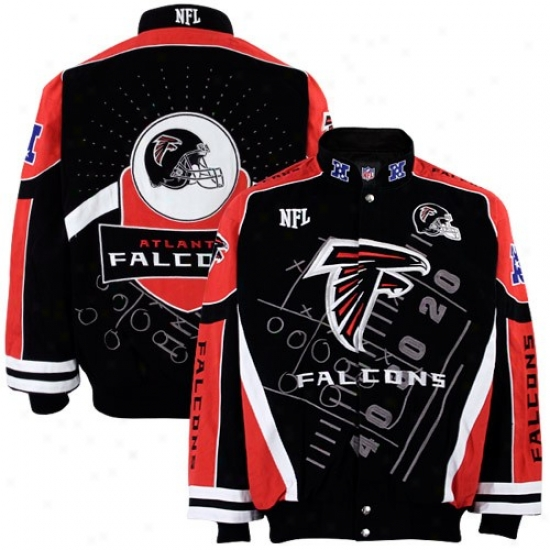 Falcons Jackets : Falcons Black-red Playbook Twill Jackets