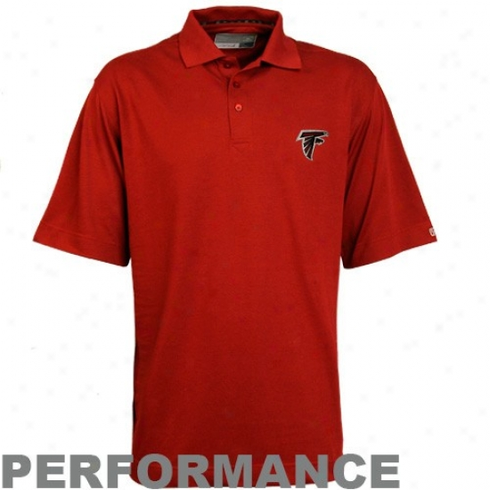 Falcons Polos : Cutter & Buck Falcons Red Championa Drytec Performance Polos