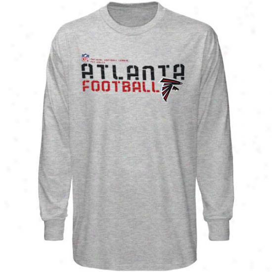 Falcnos T-shirt : Reebok Falcons Youth Ash Sideline Statement Long Sleeve T-shirt