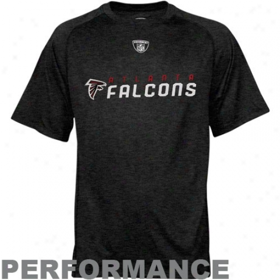 Falcons Tee : Reebok Nfl Equipment Falcons Black Sidsline Speedwick Performance Heathered Tee