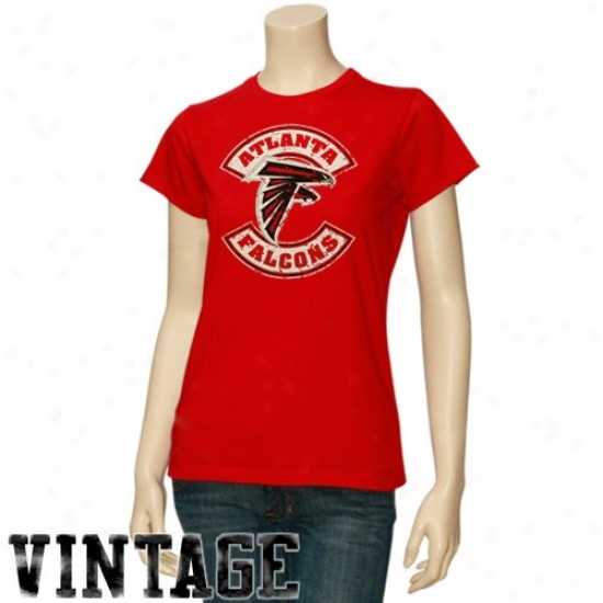 Falcons Tshirt : Falcons Ladies Red Basic Round Logo Vintage Tshirt