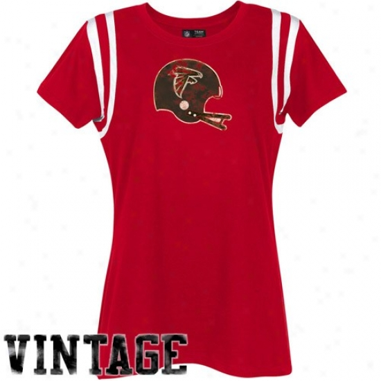 Falcons Tshirt : Falcons Ladies Red Vitange Helmet Tshirt