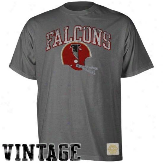 Falcons Tshirts : Reebok Falcons Charcoal Buttonhook Vintag Peemium Tshirts