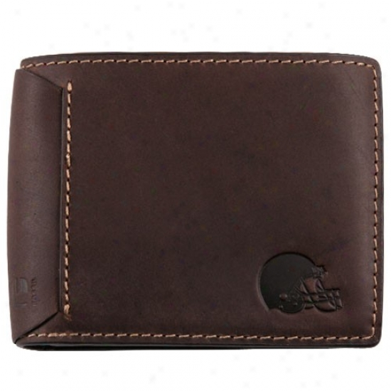 Fossil Cleveland Brownz Brown Leather Traveler Billfold Wallet