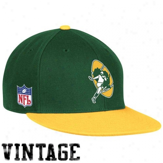 Green Bay Cap : Reebok Green Bay Green-yellow Tjrowback Fitted Cap