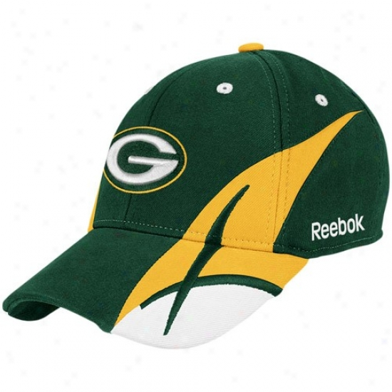 Green Bay Caps : Reebok Green Bay Green Pitchfork Flex Fit Caps