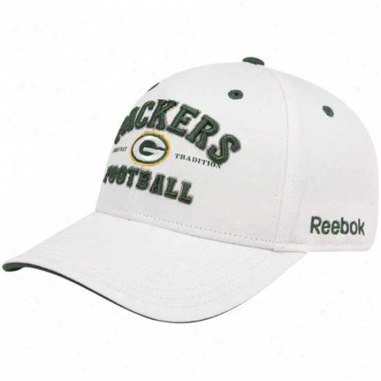 Green Bay Gear: Reebok Green Bay White Tradition Adjustable Hat