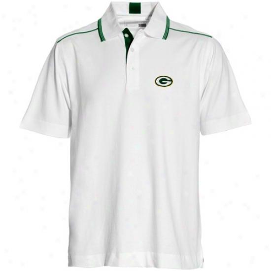 Green Bark at Golf Shirt : Cutter & Buck Green Bay White Baseline Golf Shirt